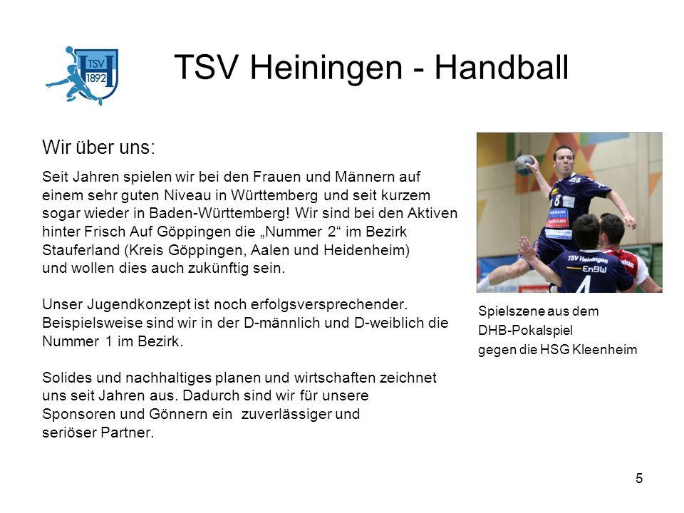 5 TSV Heiningen - Handball Wir über uns: Seit Jahren spielen wir bei den Frauen und Männern auf einem sehr guten Niveau in Württemberg und seit kurzem