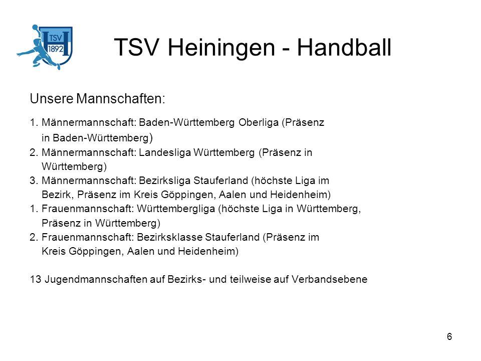 6 TSV Heiningen - Handball Unsere Mannschaften: 1. Männermannschaft: Baden-Württemberg Oberliga (Präsenz in Baden-Württemberg ) 2. Männermannschaft: L