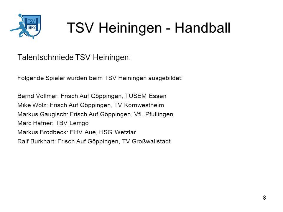 8 TSV Heiningen - Handball Talentschmiede TSV Heiningen: Folgende Spieler wurden beim TSV Heiningen ausgebildet: Bernd Vollmer: Frisch Auf Göppingen,