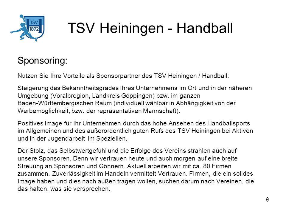 10 TSV Heiningen – Handball Beschreibung der Werbemöglichkeiten: Bandenwerbung: In der Voralbhalle bei allen Pflichtspielen.