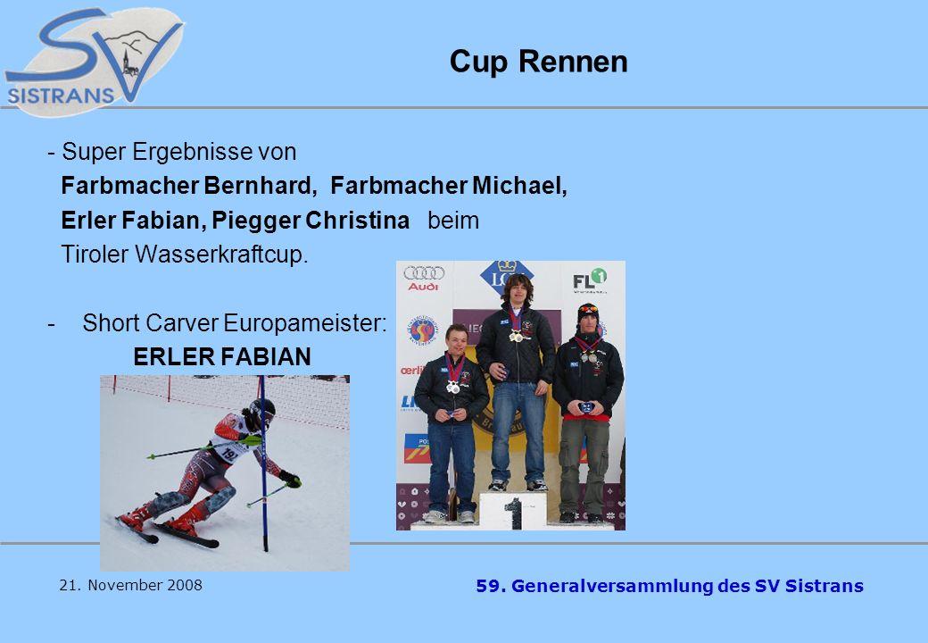 59. Generalversammlung des SV Sistrans Bezirks -, Landescuprennen und Tiroler MS Im abgelaufenen Winter nahmen wieder einige unserer Talente an Bezirk