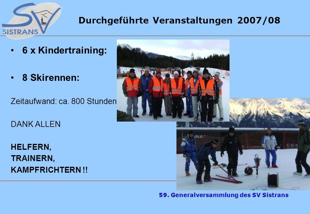 59. Generalversammlung des SV Sistrans Cup Rennen - Super Ergebnisse von Farbmacher Bernhard, Farbmacher Michael, Erler Fabian, Piegger Christina beim