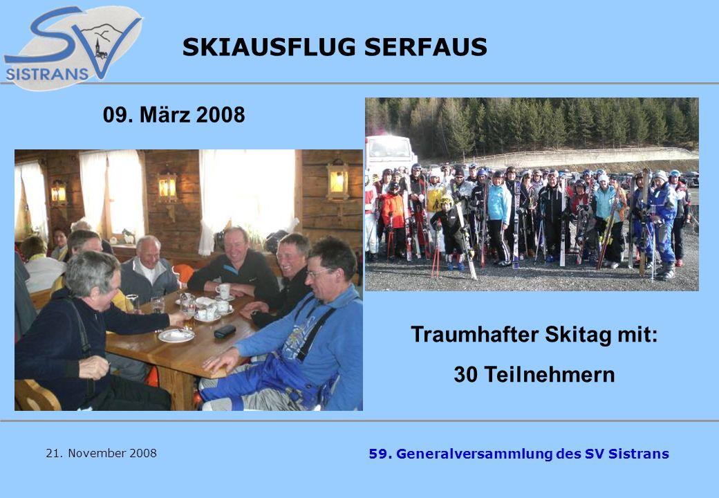 59. Generalversammlung des SV Sistrans 6 x Kindertraining: 8 Skirennen: Zeitaufwand: ca. 800 Stunden DANK ALLEN HELFERN, TRAINERN, KAMPFRICHTERN !! Du