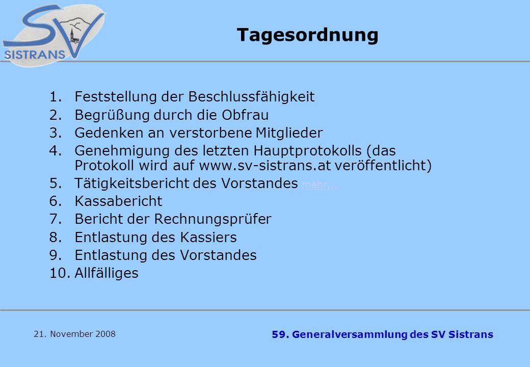 59. Generalversammlung des SV Sistrans 21. November 2008 Herzlich Willkommen zur 59. Generalversammlung