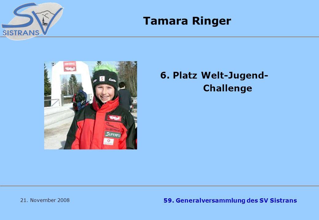 59. Generalversammlung des SV Sistrans Philip Knoll 9. Platz ÖM Jugend C 6. Platz TM Jugend C 8. Platz Welt-Jugend- Challenge 5. Platz Alpenländer-Pok