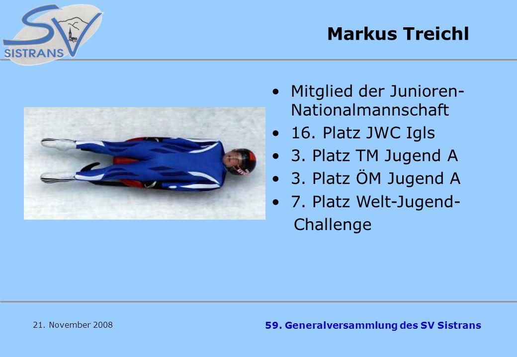 59. Generalversammlung des SV Sistrans Michael Mayer 5. Platz ÖM Jugend B 3. Platz TM Jugend B 16. Platz Welt- Jugend- Challenge 21. November 2008