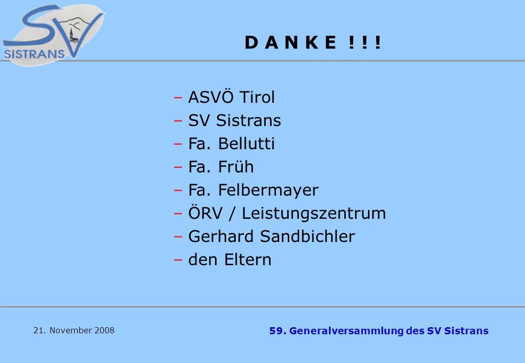 59. Generalversammlung des SV Sistrans Zielsetzungen Zusätzlich noch 2-3 junge Rodlerinnen und Rodler (3. – 4. Klasse Volksschule) – erste Abfahrten i