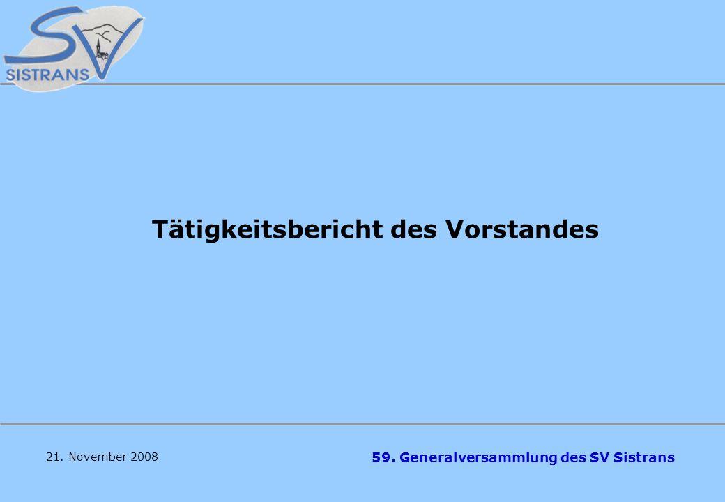 59. Generalversammlung des SV Sistrans 21. November 2008 Tagesordnung 1.Feststellung der Beschlussfähigkeit 2.Begrüßung durch die Obfrau 3.Gedenken an