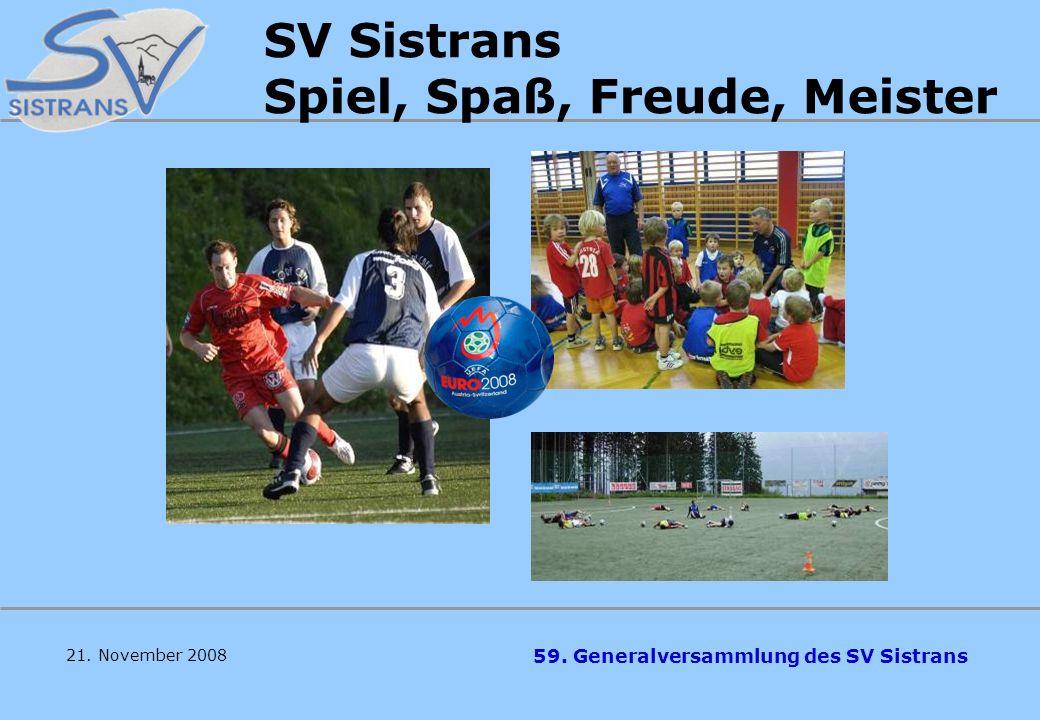 59. Generalversammlung des SV Sistrans D A N K E ! ! ! –ASVÖ Tirol –SV Sistrans –Fa. Bellutti –Fa. Früh –Fa. Felbermayer –ÖRV / Leistungszentrum –Gerh