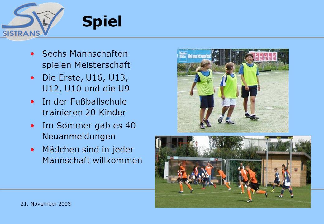 59. Generalversammlung des SV Sistrans 21. November 2008 SV Sistrans Spiel, Spaß, Freude, Meister