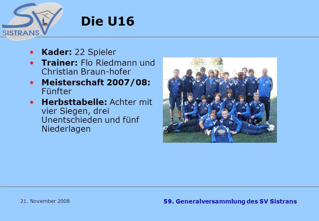 59. Generalversammlung des SV Sistrans 21. November 2008 Bezirksliga Ost 2008/2009 Sechster in der Herbsttabelle in der Bezirksliga: Sieben Siege, vie