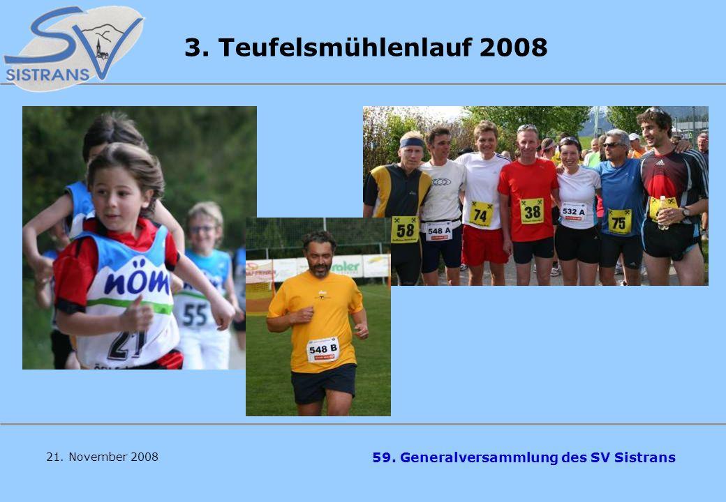59. Generalversammlung des SV Sistrans 21. November 2008 3. Teufelsmühlenlauf 2008 91 TN Hauptlauf 21 2er Staffeln 65 Kinder Sieger: Mauser/Lechleitne