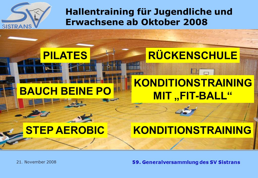 59. Generalversammlung des SV Sistrans VOLLEYBALL Trainer Georg Junker 21. November 2008