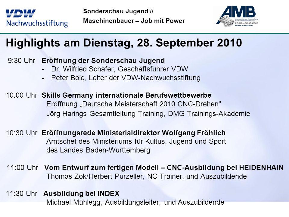 Sonderschau Jugend // Maschinenbauer – Job mit Power Highlights am Dienstag, 28. September 2010 9:30 Uhr Eröffnung der Sonderschau Jugend -Dr. Wilfrie