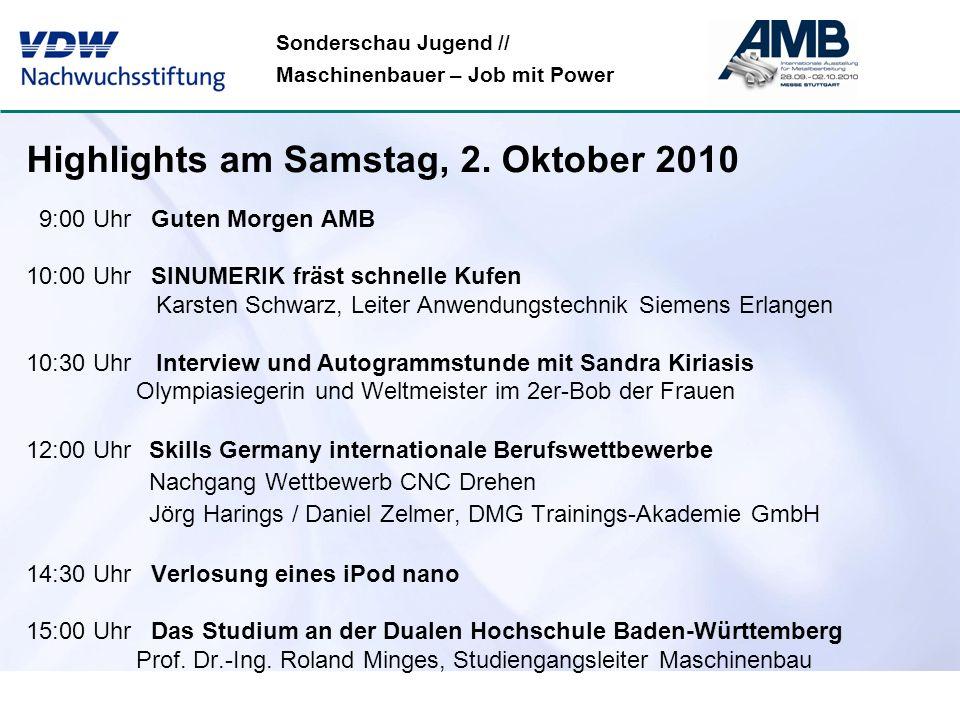 Sonderschau Jugend // Maschinenbauer – Job mit Power Highlights am Samstag, 2. Oktober 2010 9:00 Uhr Guten Morgen AMB 10:00 Uhr SINUMERIK fräst schnel