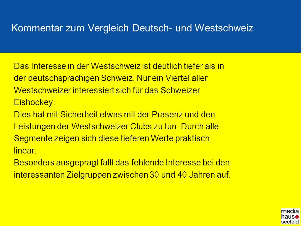 Kommentar zum Vergleich Deutsch- und Westschweiz Das Interesse in der Westschweiz ist deutlich tiefer als in der deutschsprachigen Schweiz. Nur ein Vi
