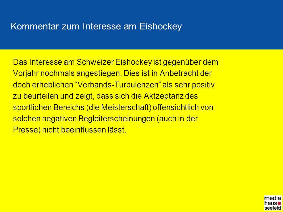 Kommentar zum Interesse am Eishockey Das Interesse am Schweizer Eishockey ist gegenüber dem Vorjahr nochmals angestiegen.