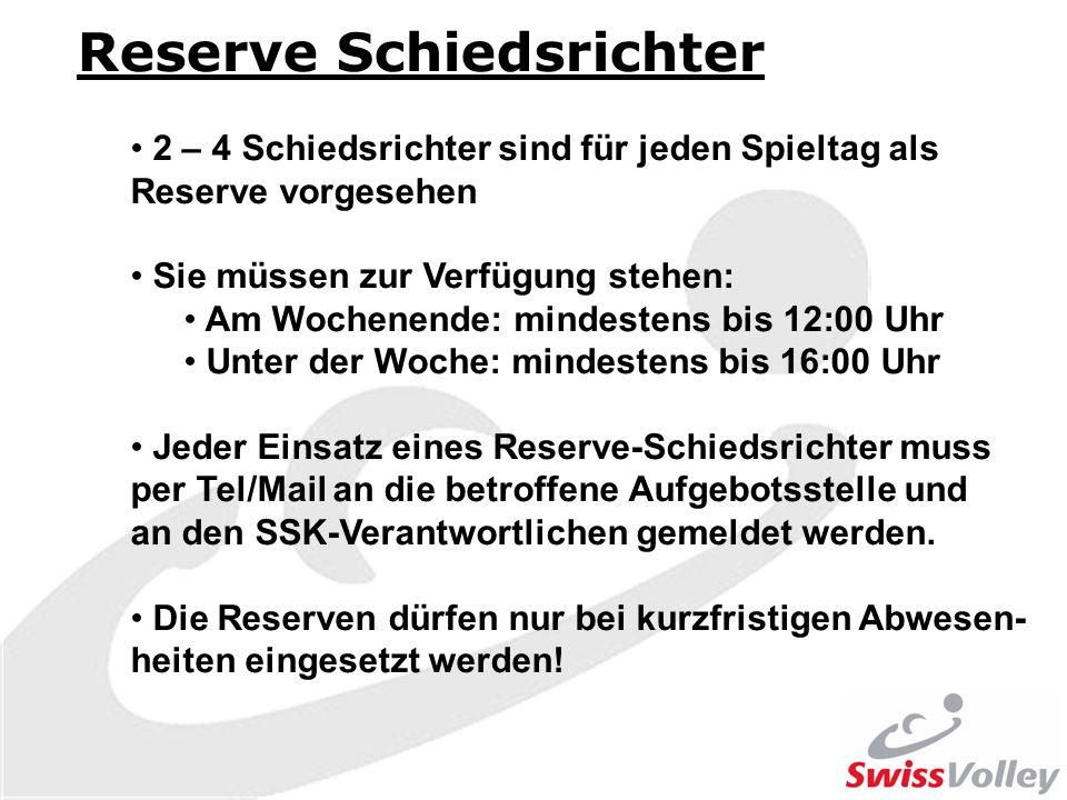Reserve Schiedsrichter 2 – 4 Schiedsrichter sind für jeden Spieltag als Reserve vorgesehen Sie müssen zur Verfügung stehen: Am Wochenende: mindestens