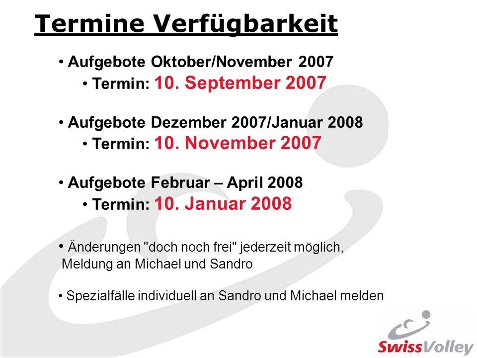 Termine Verfügbarkeit Aufgebote Oktober/November 2007 Termin: 10. September 2007 Aufgebote Dezember 2007/Januar 2008 Termin: 10. November 2007 Aufgebo