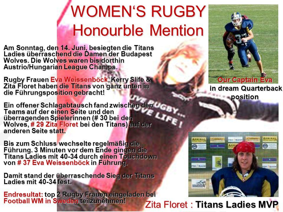 WOMENS RUGBY Honourble Mention Zita Floret : Titans Ladies MVP Am Sonntag, den 14.