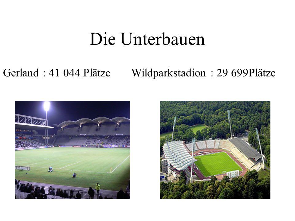 Die Unterbauen Gerland : 41 044 Plätze Wildparkstadion : 29 699Plätze