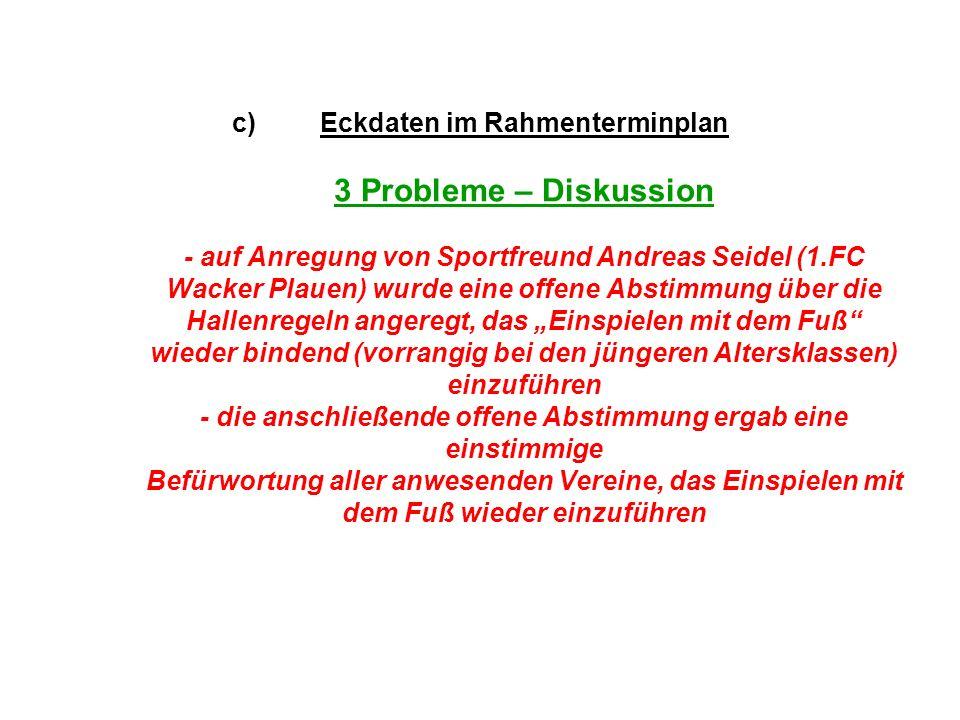 c)Eckdaten im Rahmenterminplan 3 Probleme – Diskussion - auf Anregung von Sportfreund Andreas Seidel (1.FC Wacker Plauen) wurde eine offene Abstimmung