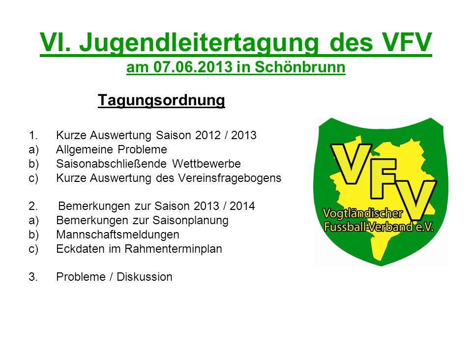 VI. Jugendleitertagung des VFV am 07.06.2013 in Schönbrunn Tagungsordnung 1.Kurze Auswertung Saison 2012 / 2013 a)Allgemeine Probleme b)Saisonabschlie