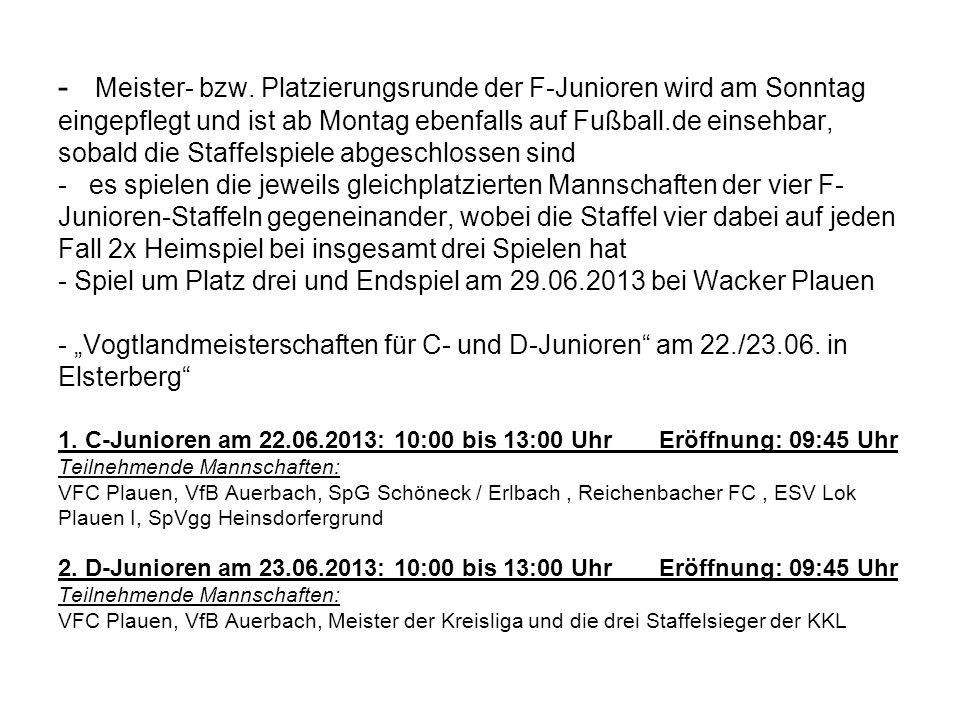 - Meister- bzw. Platzierungsrunde der F-Junioren wird am Sonntag eingepflegt und ist ab Montag ebenfalls auf Fußball.de einsehbar, sobald die Staffels