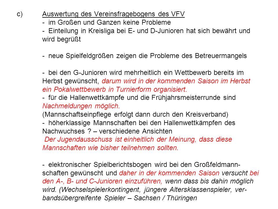 c)Auswertung des Vereinsfragebogens des VFV - im Großen und Ganzen keine Probleme - Einteilung in Kreisliga bei E- und D-Junioren hat sich bewährt und