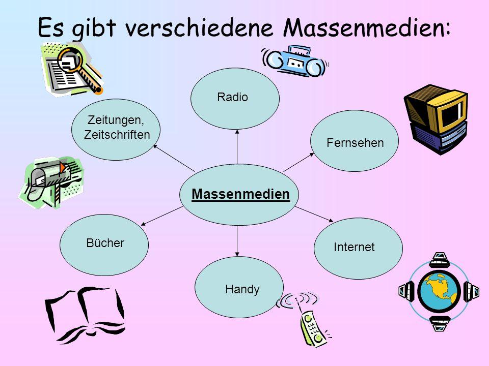 Massenmedien Bücher Zeitungen, Zeitschriften Radio Fernsehen Internet Handy Es gibt verschiedene Massenmedien: