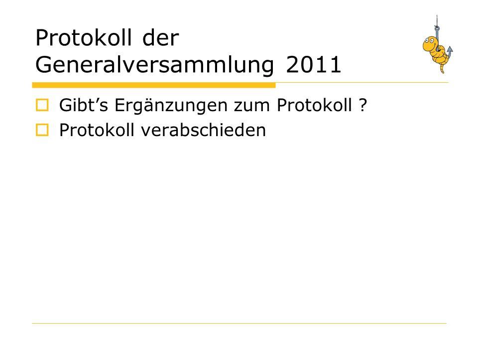 Protokoll der Generalversammlung 2011 Gibts Ergänzungen zum Protokoll ? Protokoll verabschieden