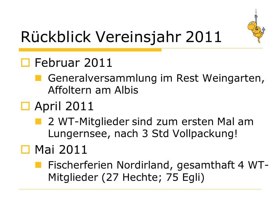 Rückblick Vereinsjahr 2011 Februar 2011 Generalversammlung im Rest Weingarten, Affoltern am Albis April 2011 2 WT-Mitglieder sind zum ersten Mal am Lungernsee, nach 3 Std Vollpackung.
