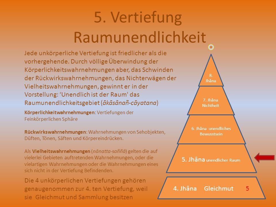 5. Vertiefung Raumunendlichkeit Die 4 unkörperlichen Vertiefungen gehören genaugenommen zur 4. ten Vertiefung, weil sie Gleichmut und Sammlung besitze