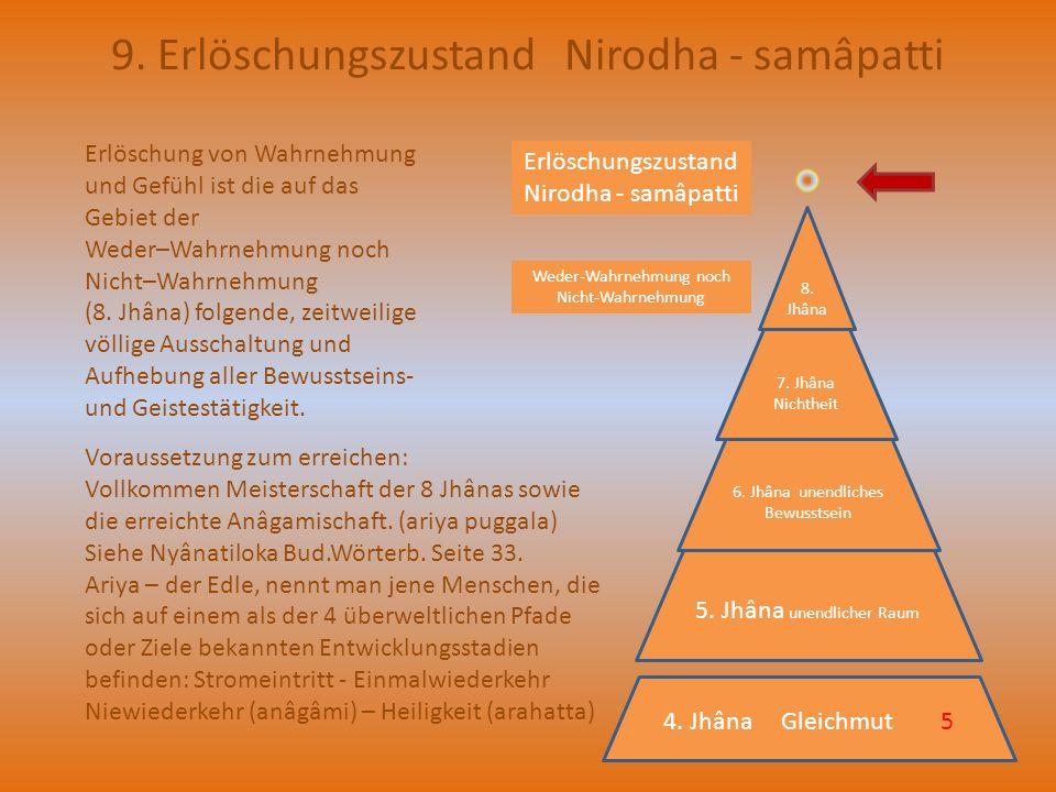 9. Erlöschungszustand Nirodha - samâpatti Erlöschung von Wahrnehmung und Gefühl ist die auf das Gebiet der Weder–Wahrnehmung noch Nicht–Wahrnehmung (8