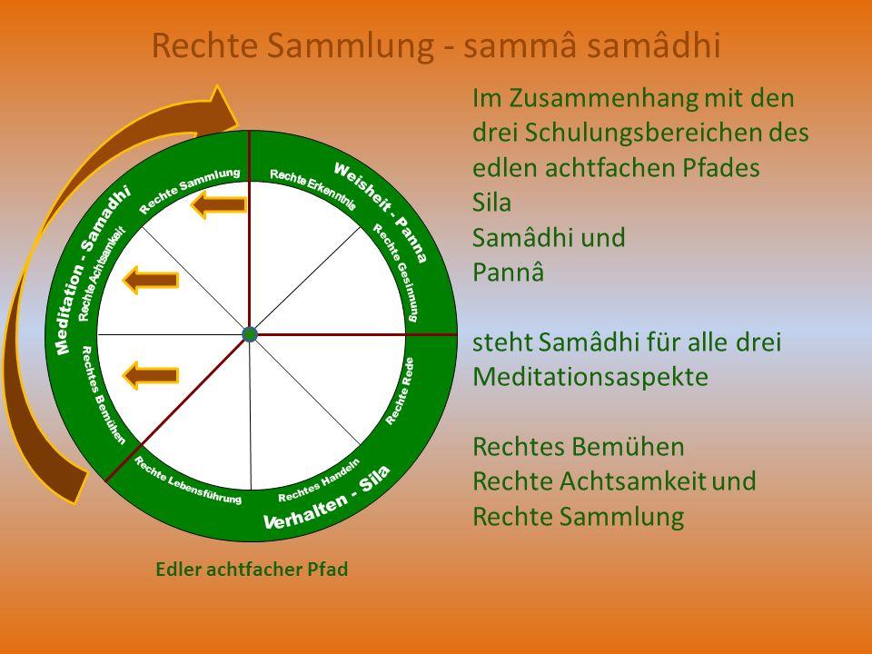 Rechte Sammlung - sammâ samâdhi Im Zusammenhang mit den drei Schulungsbereichen des edlen achtfachen Pfades Sila Samâdhi und Pannâ steht Samâdhi für a