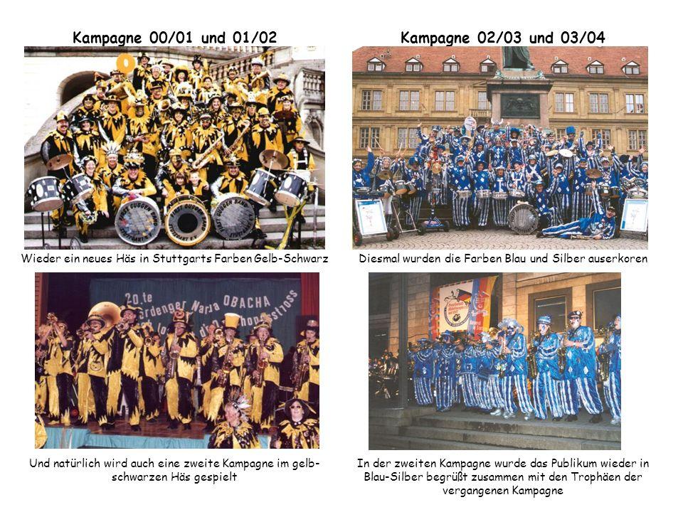 Kampagne 00/01 und 01/02 Wieder ein neues Häs in Stuttgarts Farben Gelb-Schwarz Und natürlich wird auch eine zweite Kampagne im gelb- schwarzen Häs ge