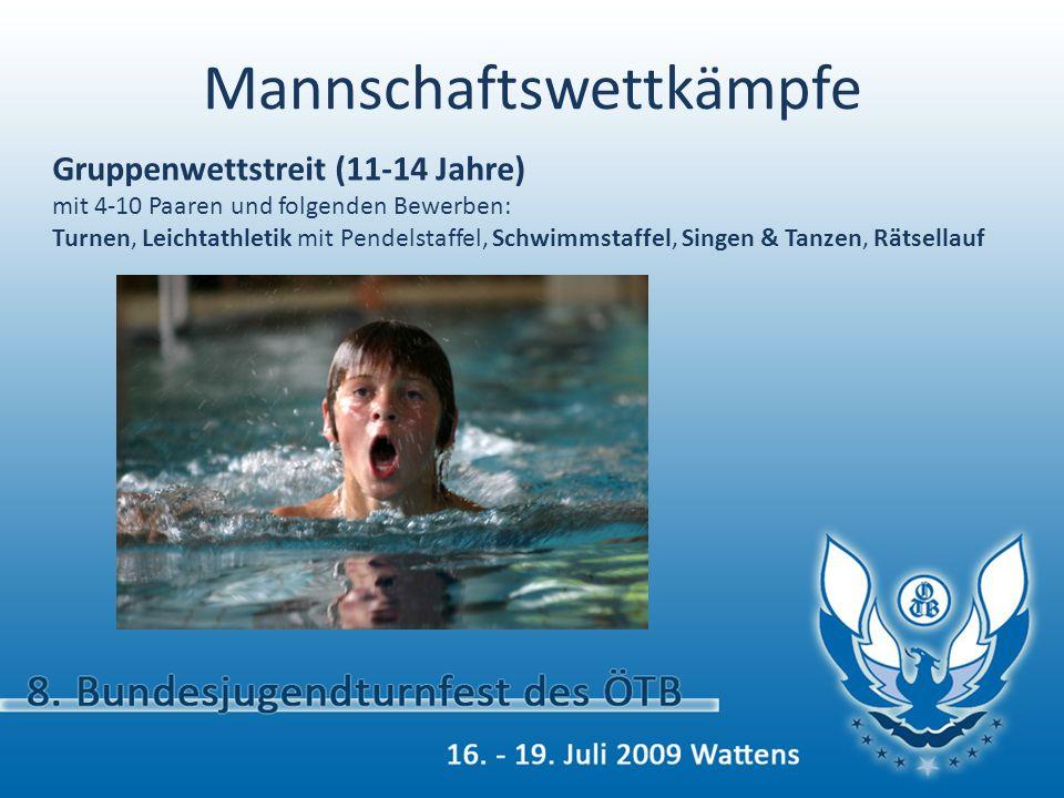 Mannschaftswettkämpfe Wimpelwettstreit (13-18 Jahre) mit 4-10 Paaren und folgenden Bewerben: Turnen, Leichtathletik mit Pendelstaffel, Schwimmstaffel, Singen (Pflicht- & Kürlied), Tanzen (Pflicht- & Kürtanz), Rätsellauf