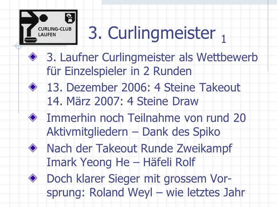 3. Curlingmeister 1 3. Laufner Curlingmeister als Wettbewerb für Einzelspieler in 2 Runden 13.