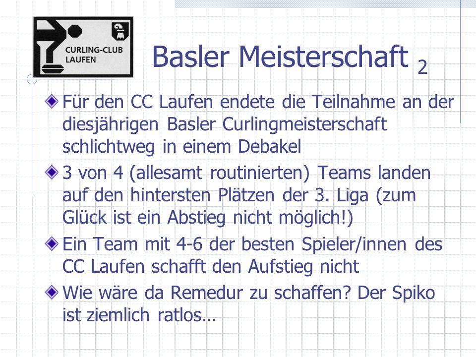 Basler Meisterschaft 2 Für den CC Laufen endete die Teilnahme an der diesjährigen Basler Curlingmeisterschaft schlichtweg in einem Debakel 3 von 4 (allesamt routinierten) Teams landen auf den hintersten Plätzen der 3.