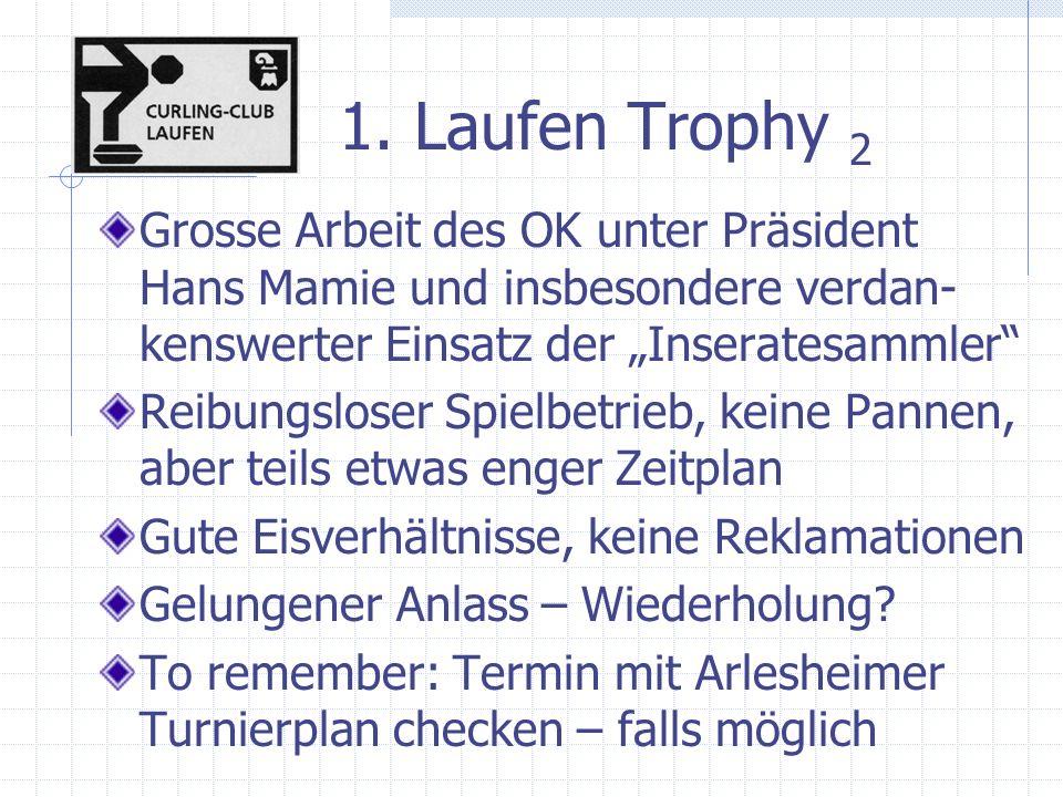 1. Laufen Trophy 2 Grosse Arbeit des OK unter Präsident Hans Mamie und insbesondere verdan- kenswerter Einsatz der Inseratesammler Reibungsloser Spiel