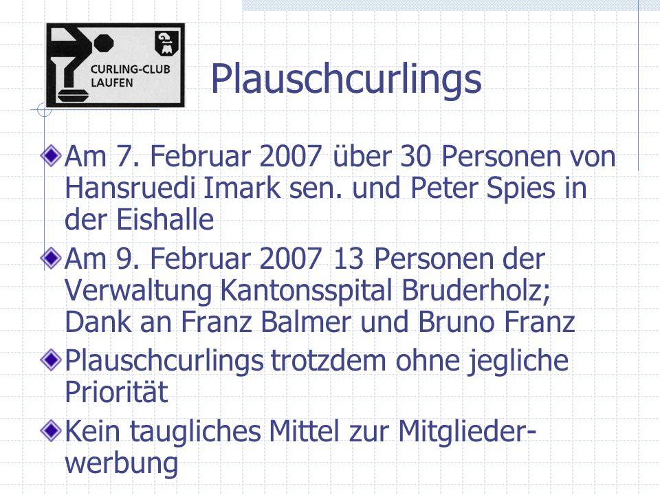 Plauschcurlings Am 7. Februar 2007 über 30 Personen von Hansruedi Imark sen.