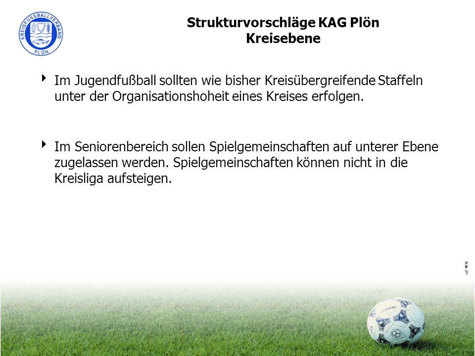 Seite 29 Strukturvorschläge KAG Plön Kreisebene Im Jugendfußball sollten wie bisher Kreisübergreifende Staffeln unter der Organisationshoheit eines Kr