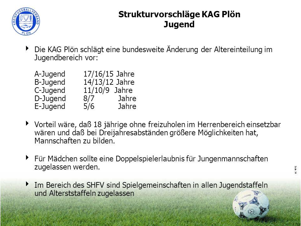 Seite 30 Strukturvorschläge KAG Plön Jugend Die KAG Plön schlägt eine bundesweite Änderung der Altereinteilung im Jugendbereich vor: A-Jugend17/16/15
