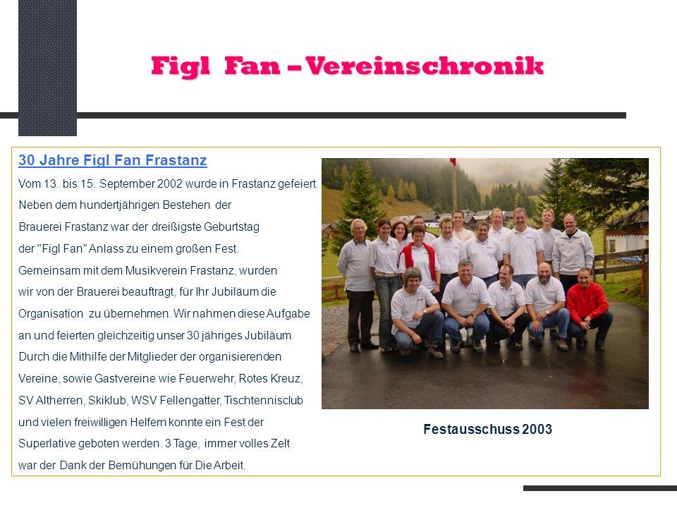 Figl Fan – Vereinschronik 30 Jahre Figl Fan Frastanz Vom 13. bis 15. September 2002 wurde in Frastanz gefeiert. Neben dem hundertjährigen Bestehen der