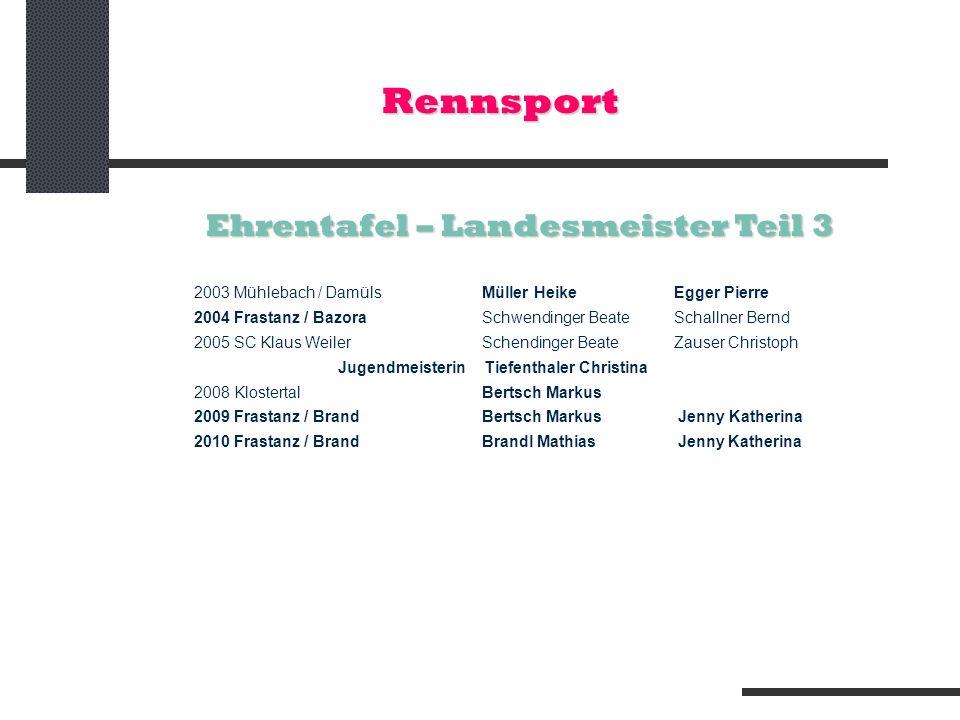 Rennsport 2003 Mühlebach / DamülsMüller HeikeEgger Pierre 2004 Frastanz / BazoraSchwendinger BeateSchallner Bernd 2005 SC Klaus WeilerSchendinger Beat