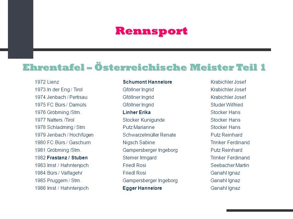 Rennsport Ehrentafel – Österreichische Meister Teil 1 1972 LienzSchumont Hannelore Krabichler Josef 1973 In der Eng / TirolGföllner IngridKrabichler J