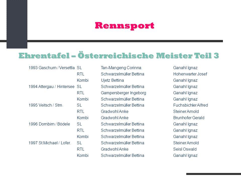 Rennsport Ehrentafel – Österreichische Meister Teil 3 1993 Gaschurn / VersettlaSLTan-Mangeng CorinnaGanahl Ignaz RTL Schwarzelmüller BettinaHohenwarte