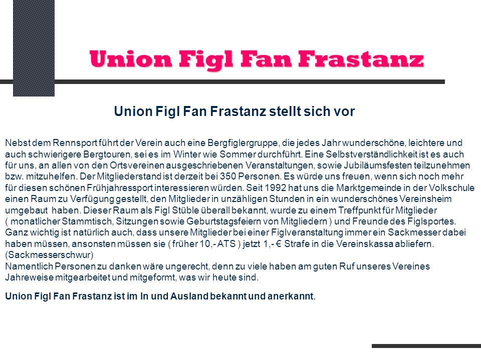 Union Figl Fan Frastanz Union Figl Fan Frastanz stellt sich vor Nebst dem Rennsport führt der Verein auch eine Bergfiglergruppe, die jedes Jahr wunder