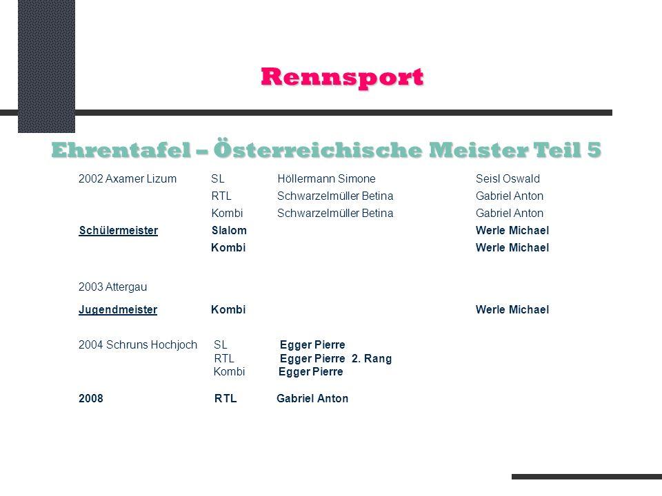 Rennsport Ehrentafel – Österreichische Meister Teil 5 2002 Axamer LizumSLHöllermann SimoneSeisl Oswald RTL Schwarzelmüller BetinaGabriel Anton KombiSc