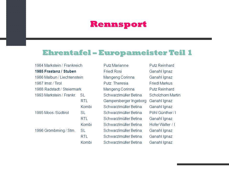 Rennsport Ehrentafel – Europameister Teil 1 1984 Markstein / FrankreichPutz Marianne Putz Reinhard 1985 Frastanz / StubenFriedl RosiGanahl Ignaz 1986